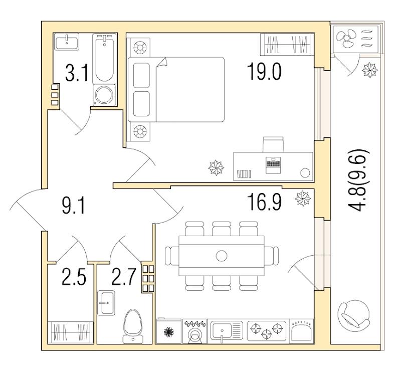 1-комнатная 58 м<sup>2</sup> на 4 этаже