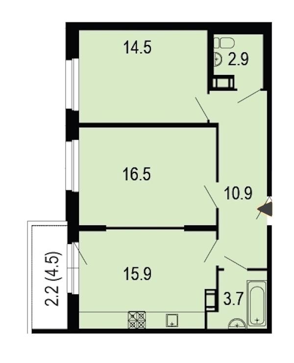 2-комнатная 67 м<sup>2</sup> на 10 этаже