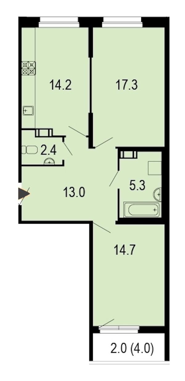 2-комнатная 69 м<sup>2</sup> на 8 этаже