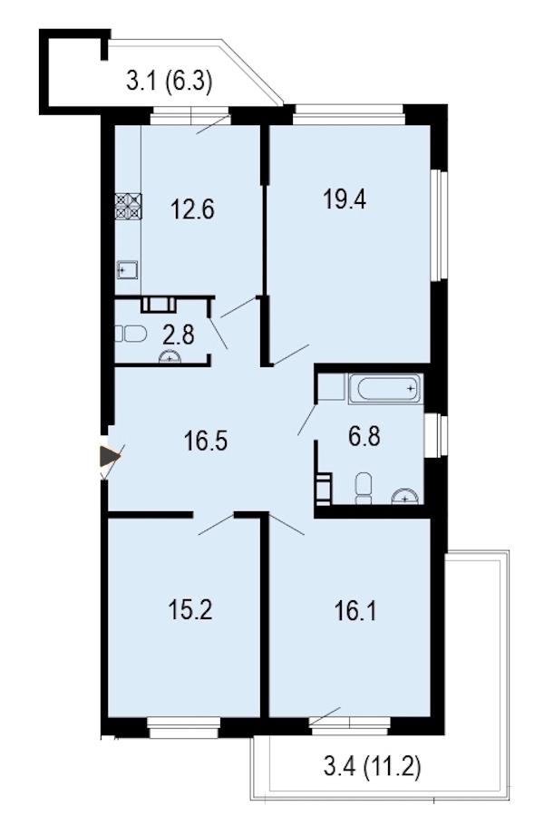 3-комнатная 95 м<sup>2</sup> на 4 этаже