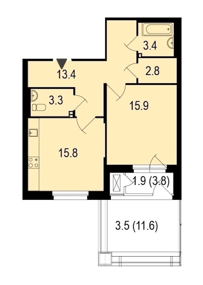 1-комнатная 60 м<sup>2</sup> на 1 этаже