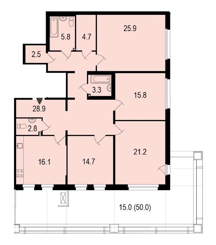 4-комнатная 157 м<sup>2</sup> на 1 этаже
