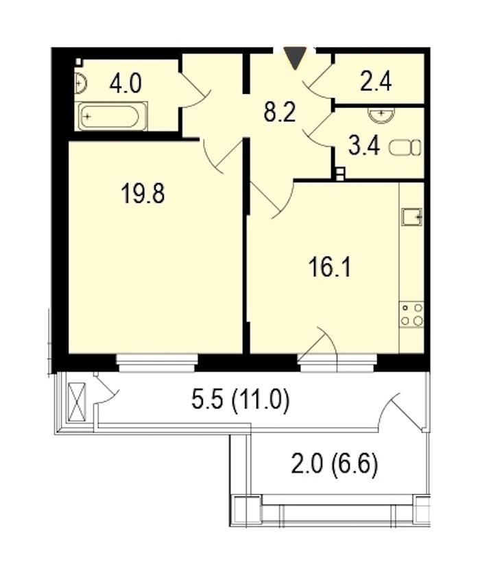 1-комнатная 61 м<sup>2</sup> на 1 этаже