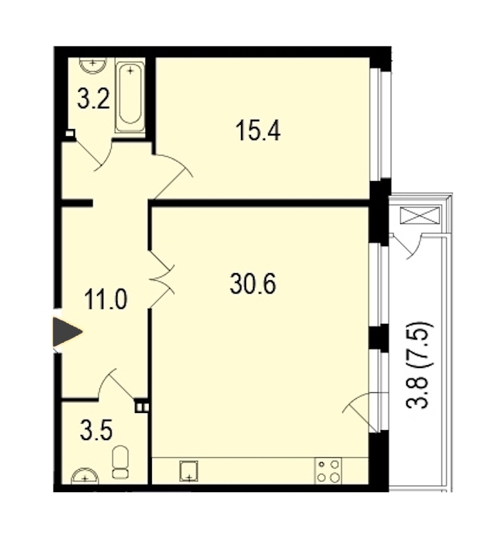 1-комнатная 68 м<sup>2</sup> на 1 этаже