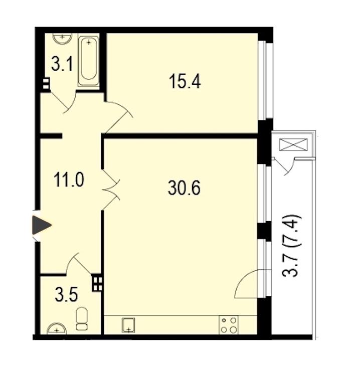 1-комнатная 68 м<sup>2</sup> на 2 этаже