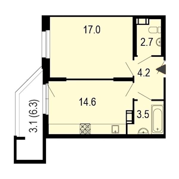 1-комнатная 45 м<sup>2</sup> на 2 этаже