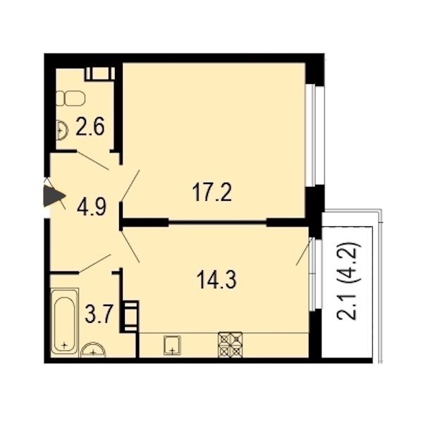 1-комнатная 45 м<sup>2</sup> на 7 этаже