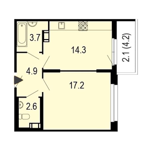 1-комнатная 45 м<sup>2</sup> на 8 этаже