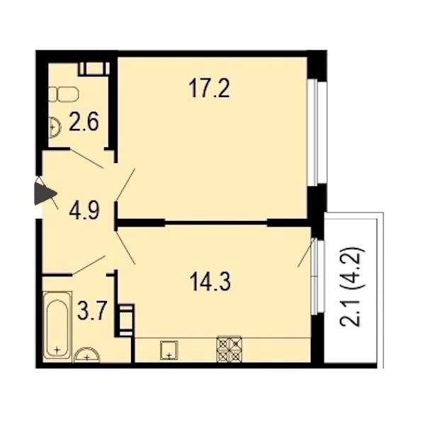 1-комнатная 45 м<sup>2</sup> на 9 этаже