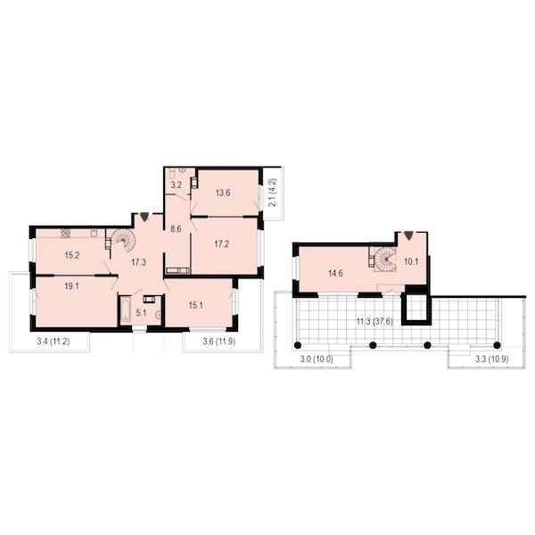 4-комнатная 160 м<sup>2</sup> на 11 этаже