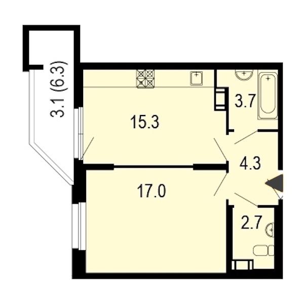 1-комнатная 45 м<sup>2</sup> на 11 этаже