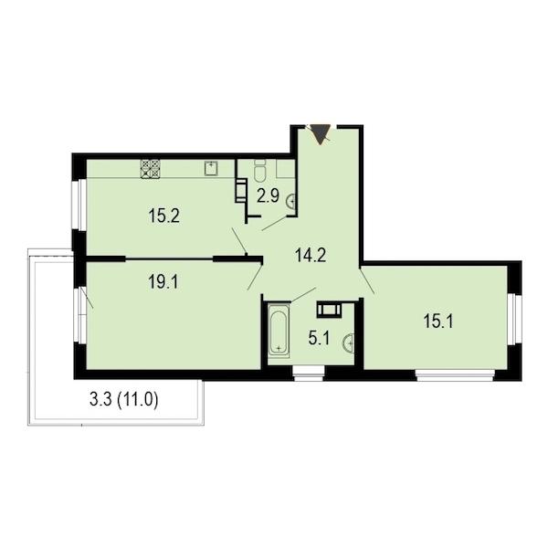 2-комнатная 75 м<sup>2</sup> на 5 этаже