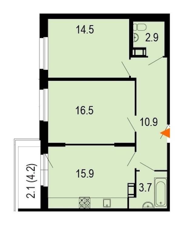 2-комнатная 67 м<sup>2</sup> на 4 этаже