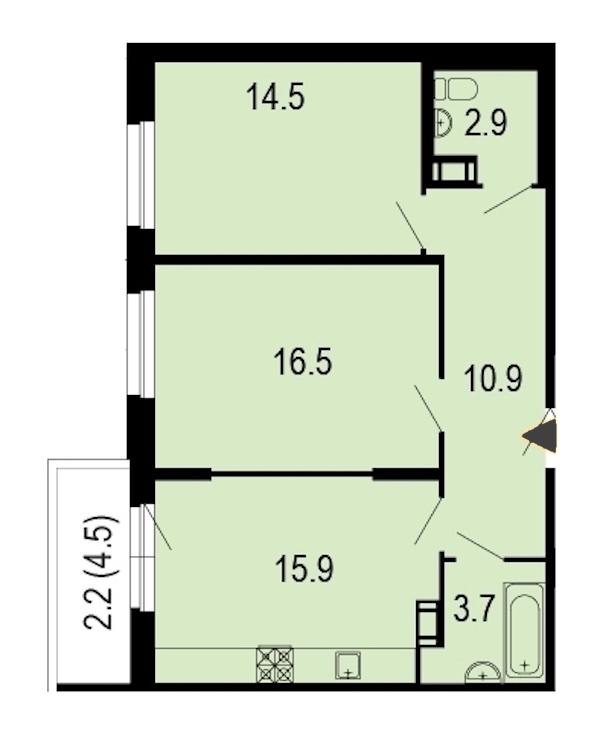2-комнатная 67 м<sup>2</sup> на 9 этаже