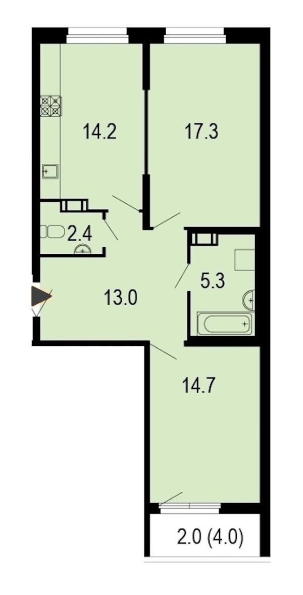 2-комнатная 69 м<sup>2</sup> на 11 этаже