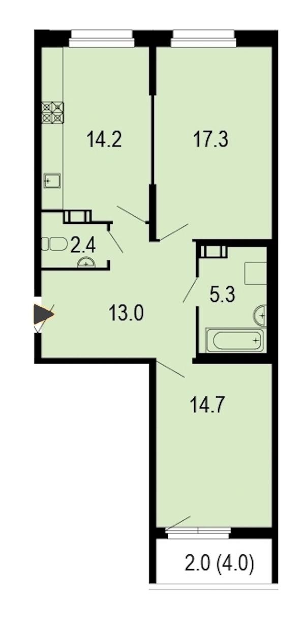 2-комнатная 69 м<sup>2</sup> на 12 этаже