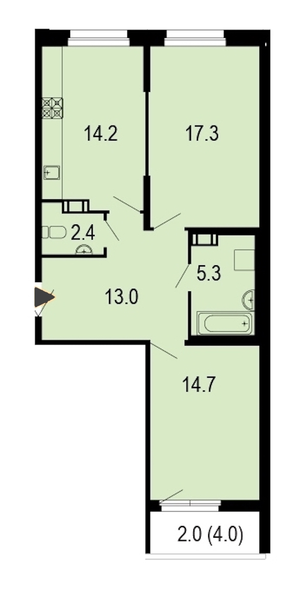 2-комнатная 69 м<sup>2</sup> на 3 этаже