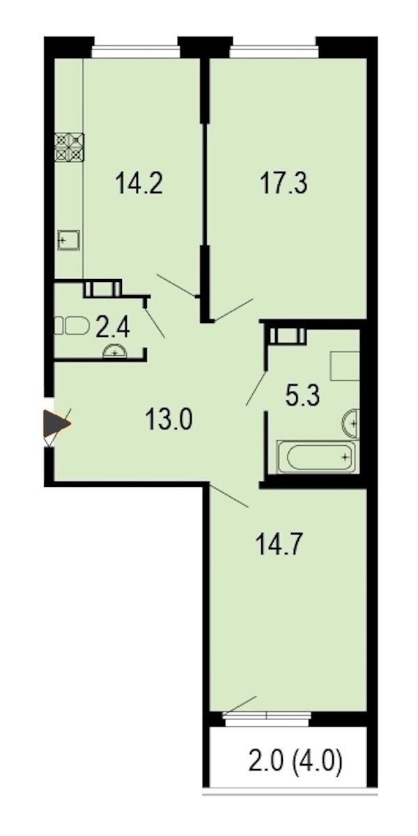 2-комнатная 69 м<sup>2</sup> на 4 этаже