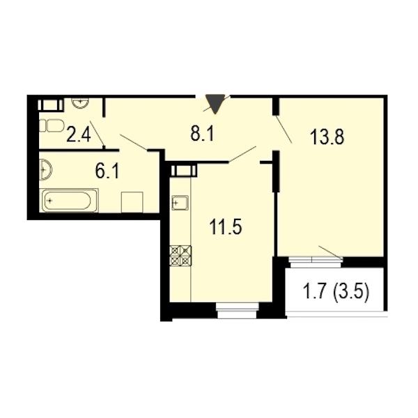1-комнатная 44 м<sup>2</sup> на 12 этаже