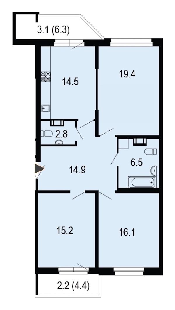 3-комнатная 95 м<sup>2</sup> на 10 этаже