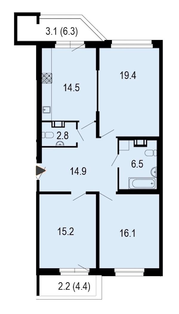 3-комнатная 94 м<sup>2</sup> на 2 этаже