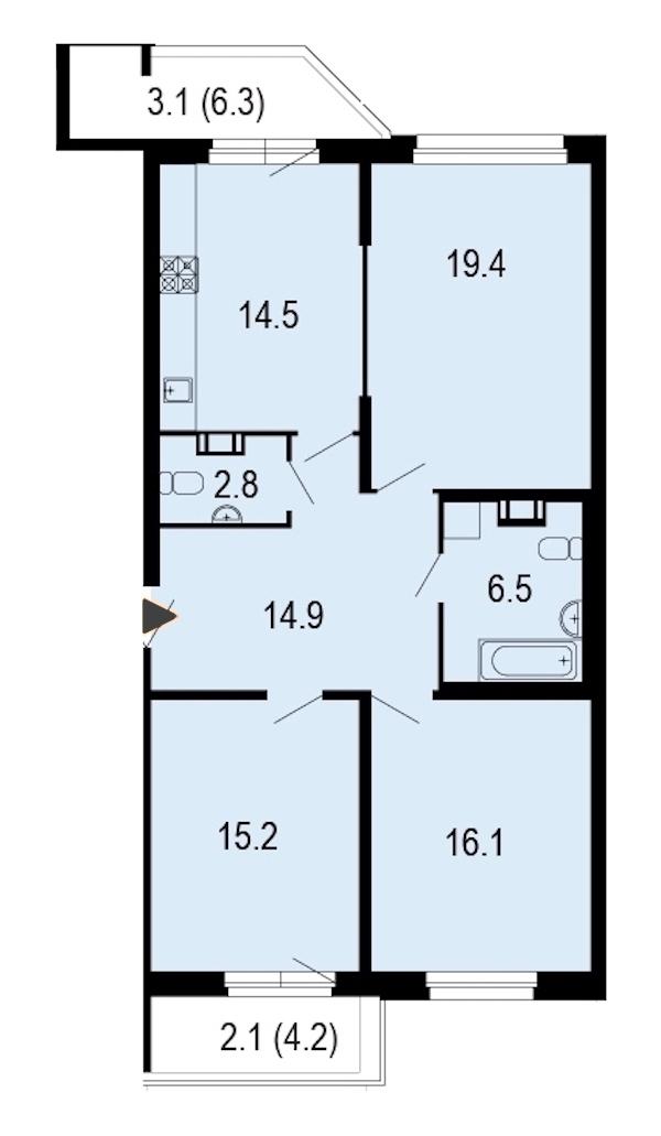 3-комнатная 94 м<sup>2</sup> на 5 этаже
