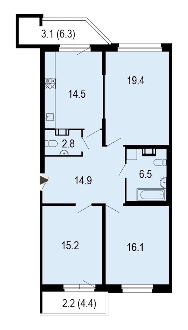 3-комнатная 95 м<sup>2</sup> на 8 этаже