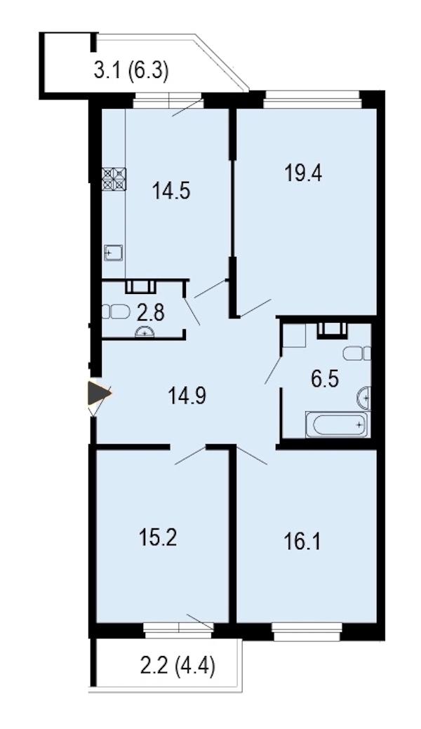 3-комнатная 95 м<sup>2</sup> на 9 этаже