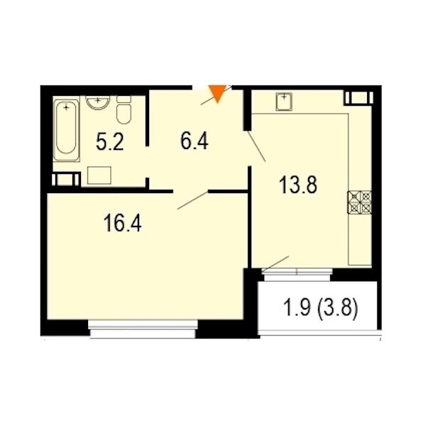 1-комнатная 44 м<sup>2</sup> на 3 этаже