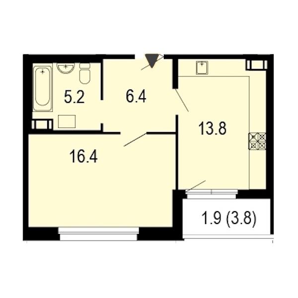1-комнатная 44 м<sup>2</sup> на 8 этаже