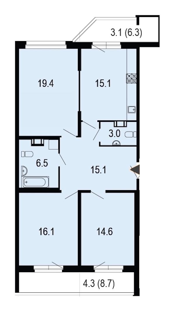 3-комнатная 97 м<sup>2</sup> на 10 этаже