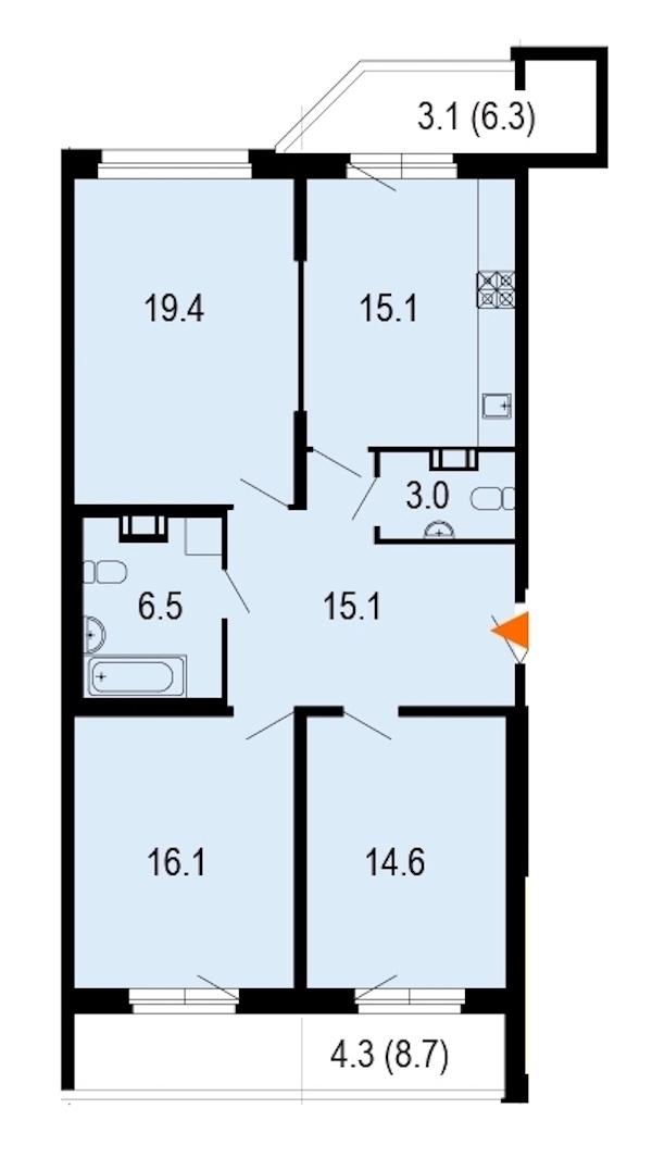 3-комнатная 97 м<sup>2</sup> на 11 этаже