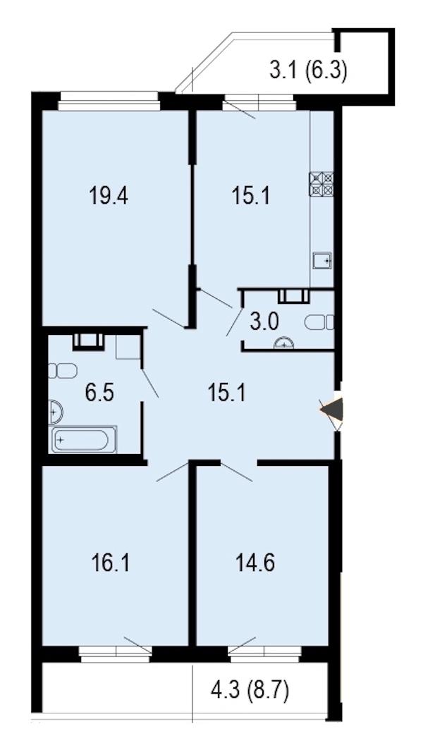 3-комнатная 97 м<sup>2</sup> на 12 этаже