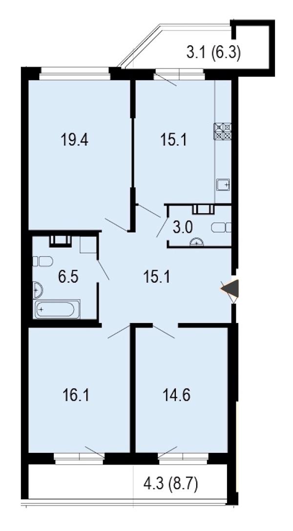 3-комнатная 97 м<sup>2</sup> на 7 этаже