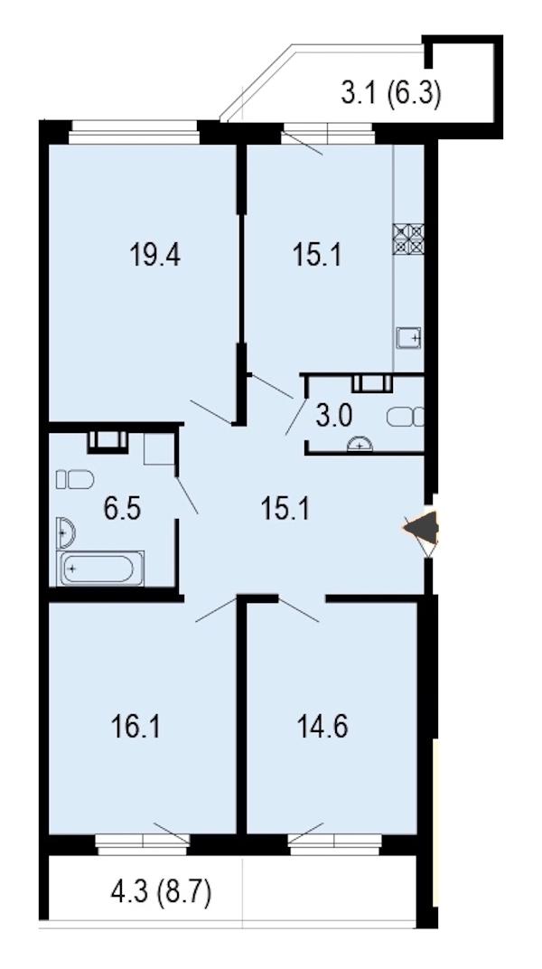 3-комнатная 97 м<sup>2</sup> на 9 этаже