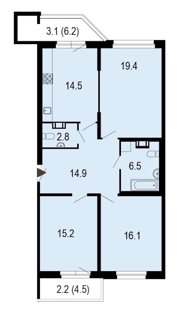 3-комнатная 94 м<sup>2</sup> на 3 этаже