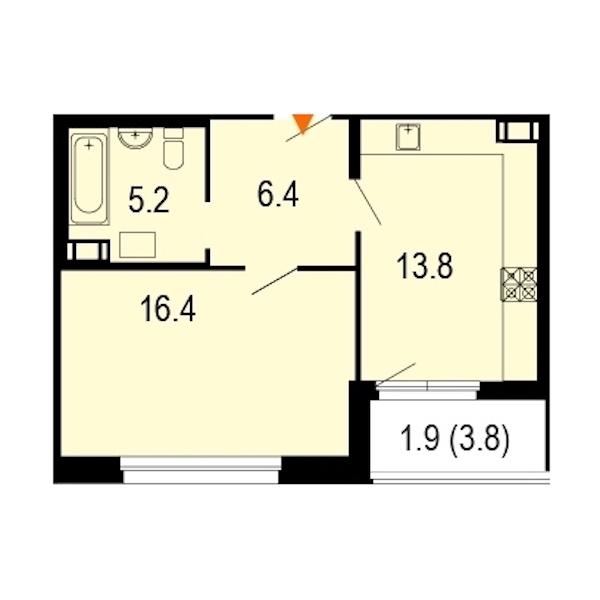 1-комнатная 44 м<sup>2</sup> на 6 этаже