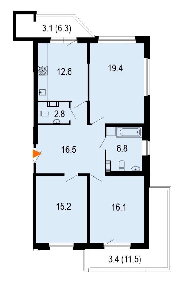 3-комнатная 96 м<sup>2</sup> на 7 этаже