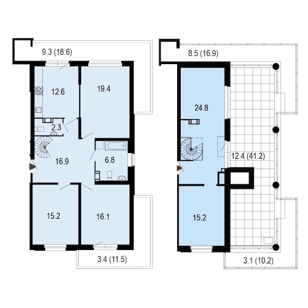 3-комнатная 155 м<sup>2</sup> на 9 этаже