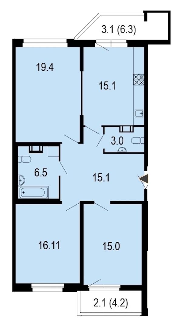 3-комнатная 95 м<sup>2</sup> на 7 этаже