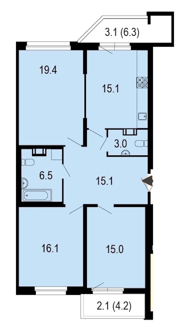 3-комнатная 94 м<sup>2</sup> на 8 этаже