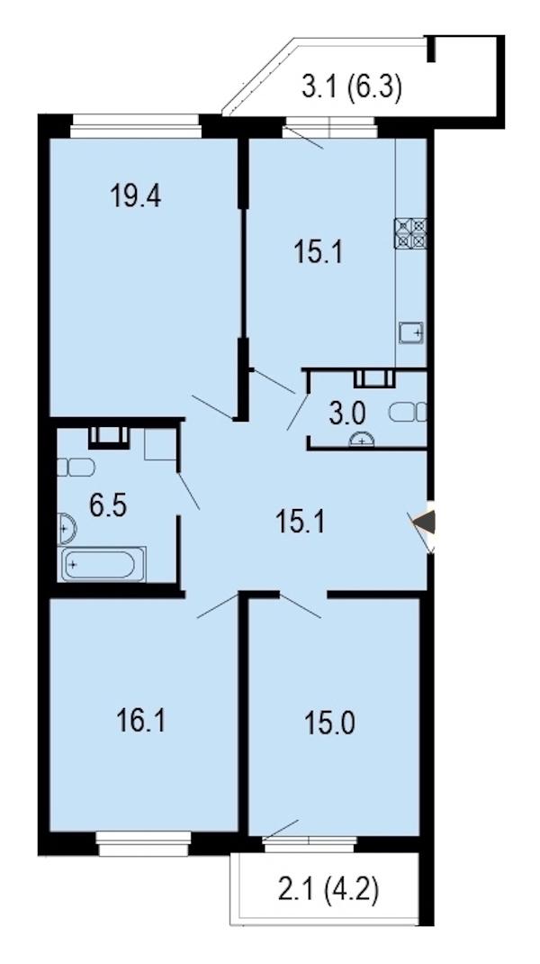 3-комнатная 94 м<sup>2</sup> на 9 этаже