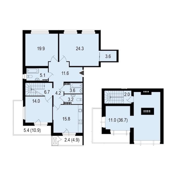 3-комнатная 133 м<sup>2</sup> на 4 этаже