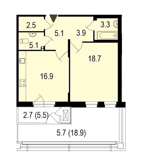 1-комнатная 62 м<sup>2</sup> на 1 этаже