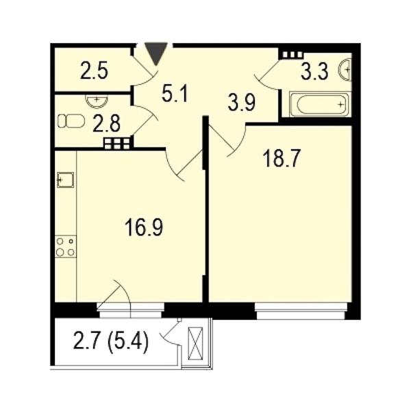 1-комнатная 55 м<sup>2</sup> на 3 этаже