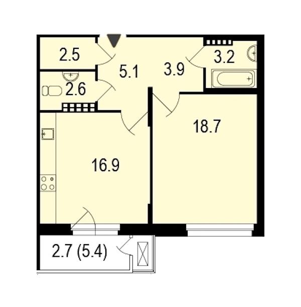 1-комнатная 55 м<sup>2</sup> на 5 этаже