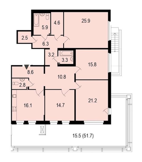 4-комнатная 158 м<sup>2</sup> на 1 этаже