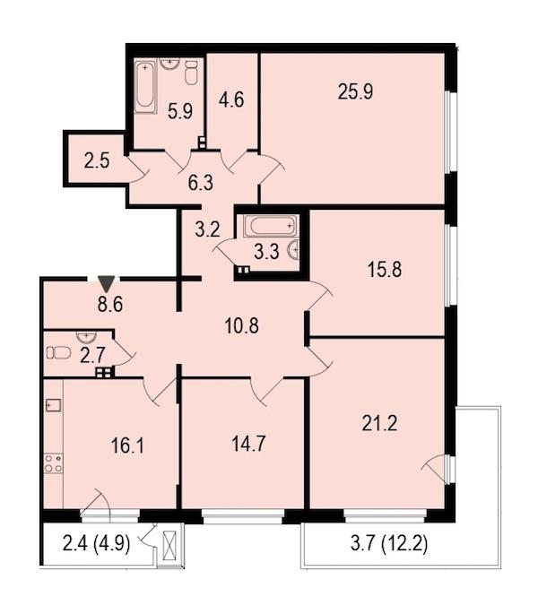 4-комнатная 148 м<sup>2</sup> на 2 этаже