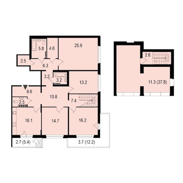 4-комнатная 160 м<sup>2</sup> на 5 этаже
