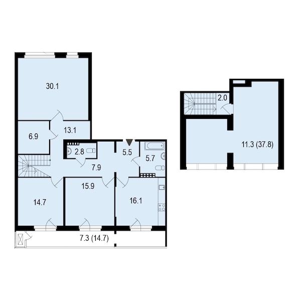 3-комнатная 138 м<sup>2</sup> на 5 этаже
